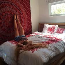home accessory red white boho bohemian wall decor bedding pillow pillow bedding bedding dress bedding sheet