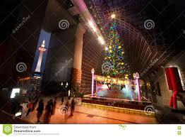 Kyoto Christmas Lights Big Christmas Tree And Kyoto Tower Editorial Photo Image
