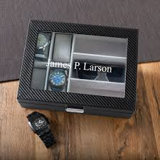 personalized men s watch case with sungles holder