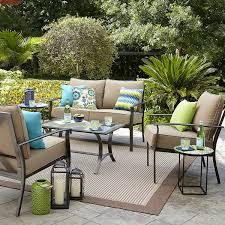 garden oasis harrison 4 piece cushion seating set tan