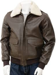 mens leather flight jacket in brown bolberry front