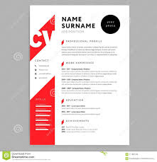 Creative Cv Resume Template Red Color Background Minimalist Vector
