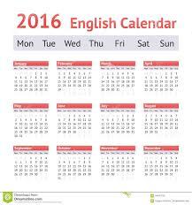 2016 European English Calendar Week Starts On Monday Stock Vector