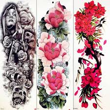 3d пион сливы временная татуировка сексуальная яркая цветочная татуировка