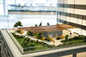 A green roof concept on a model of the new DaVita being built by architects  Slifer