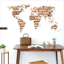office wall decal and new stone brick world map stickers wall sticker home decoration office wall decoration world map sticker wall decal wall
