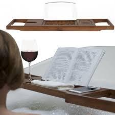 luxury bath book holder rack premium natural bamboo bathtub caddy with sides