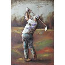 golf frame is decorating with metal wall art it is made by iron and it is originally hand printed design this iron frame is very strong for long purpose  on golf wall art canada with golfer raised texture canvas canvas canvas transfer hand