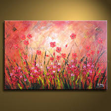beautiful contemporary wall art fl painting poppy flower oil canvas