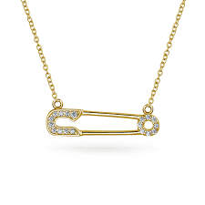 sideways diagonal safety pin sign of support for refugee 14k gold plate sterling silver cz pendant