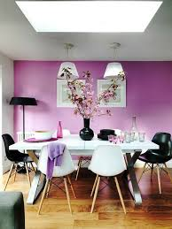 wall design ideas purple wall color white dining table black accents