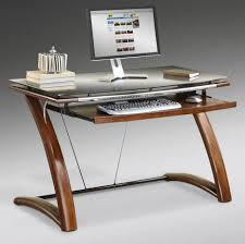 ... Light Brown Wooden Desk With Drawers Also Curving Side Board Home Decor  Glass And Wood Deck ...