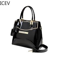 icev new european fashion luxury handbags women bags designer high quality patent leather handbags las women