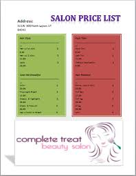 Sample Salon Menu Price List Archives - Microsoft Office Templates