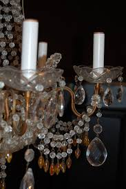 other italian chandelier with clear and amber crystal drops and beads for