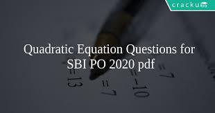 quadratic equation questions for sbi po