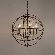 gorgeous round orb chandelier foucaults orb crystal iron 6 light chandelier free