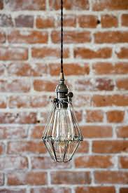 pendant lighting plug in. industrial antique brass cage wire hanging pendant light handmade with plug switch edison lighting in