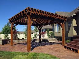 Exterior:Simple Wooden Pergola And Gazebo Design Attached To House Roof For  Backyard Landscaping Ideas