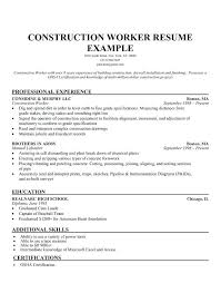 Resume For Construction Worker Construction Worker Resume Construction Job Resume Worker Samples