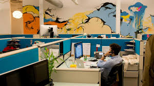 cool office designs. Office Workspace Cool And Private Design Feature Blue For Designs Themed Work Space Partition Sky An Clouds Mural Wall Decor Interior E