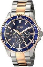guess watches waterpro steel gold bands guess men s u0172g3 two tone rose gold tone blue multi function dial