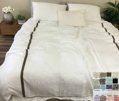 Linen Duvet Cover with Piping and Stripes ...