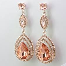 bridal blush earrings rosegold chandelier tear drop earrings cry