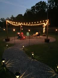 Diy patio with fire pit Cheap Picture Of And Finally We Added Lighting Instructables Diy Fire Pit And Seating Area 15 Steps with Pictures