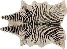 distressed faux zebra hide rug
