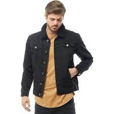 brave soul mens wilbur borg collar denim jacket black denim