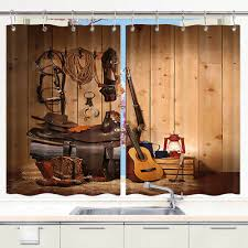 Kitchen cabinet curtain ideas that will instantly beautify your interior. American Western Cowboy Window Curtain Treatments Kitchen Curtains 2 Panels Ebay