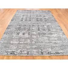 6 x9 hand spun undyed natural wool modern grey oriental rug