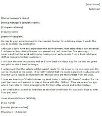 Driver Cover Letters Delivery Driver Cover Letter Example Lettercv Com