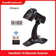 Aibecy 2.4G kablosuz el 1D barkod tarayıcı barkod okuyucu ile USB kablosu  alıcısı braketi ile uyumlu Android Windows Scanners