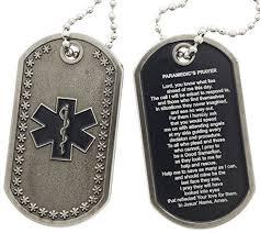 paramedic prayer star of life dog tag