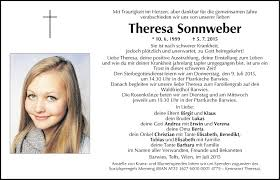 Traueranzeige Von Theresa Sonnweber Vom 08072015