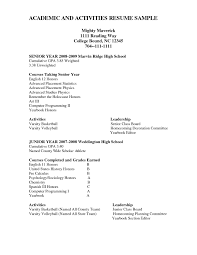 Activities Resume For College Template Sample Cover Education In
