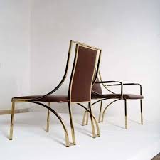 stunning set of 8 dining chairs by renato zevi in brown calf leather concept of leather stunning