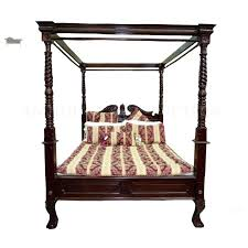 Four Poster Canopy Bed Style Antique Mahogany Pineapple 4 Queen Size ...