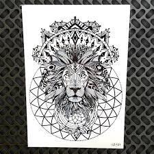 černá Henna Indická Tribal Lion King Vodotěsné Tetování Samolepky