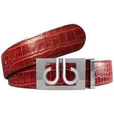 Burgundy Designer Belt Burgundy Crocodile Textured Leather Belt With Buckle