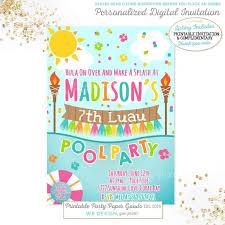 Hawaiian Pool Party Invitations Luau Pool Party Invitation Luau Birthday Invitation Luau Pool Etsy