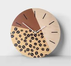coffee wall clock brown and beige