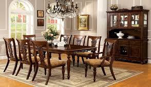 Seymour 9pc Formal Dining Turned Legs Dark Oak Finish Solid Wood Solid Wood Formal Dining Room Sets