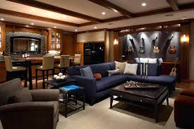 The Essentials For A Man Cave Sports Themed Basement Decorating Ideas  Designs