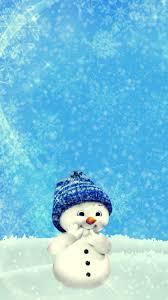 Snowman Winter Christmas New Year Cute Wallpaper