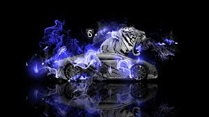 bugatti veyron fantasy tiger fire car