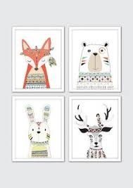 >woodland nursery decor baby woodland animals nursery animal prints  woodland tribal animals nursery art woodland print set of 4 nursery tribal decor tribal nursery baby tribal print kids woodland art