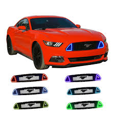 Red Halo Lights For Mustang Details About Red Drl Multi Color Grille Led Light Kit For Ford Mustang Gt 2015 2017